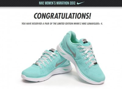 f1659ac1c By some odd reversal of fortune, I was able to snag a reservation for a  limited edition pair of Nike Women's Marathon shoes in Tiffany blue.